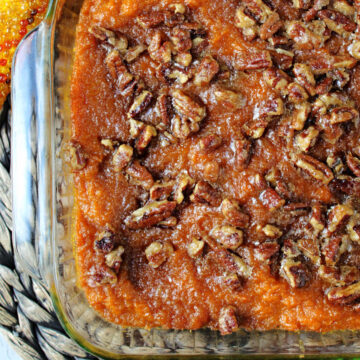 mashed sweet potatoes in a square baking dish